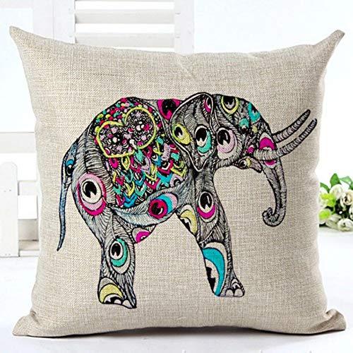 Fundas Cojines Cojín Decor Casa Funda de cojín de Lino de algodón con Elefante Animal de afecto, Funda de Almohada Decorativa para el hogar de Estilo Bohemio Indio para sofá de Lujo