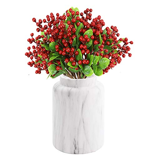 TITATI 12 Pcs Artificial Berry Stems 9.5 inch Fake Red Berries Holly Berry Picks Branches for Christmas Tree Decorations, Crafts, DIY Holiday Home Decor…