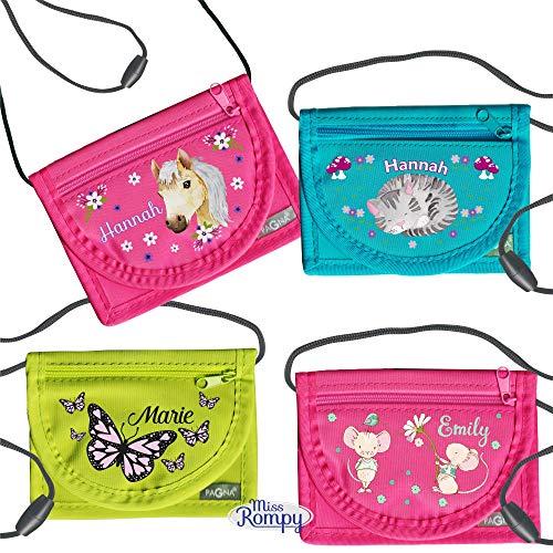 MissRompy   Brustbeutel mit Name (verschiedene Modelle  5) und Sicherheitsverschluss Umhängebeutel breast bag Portemonnaie