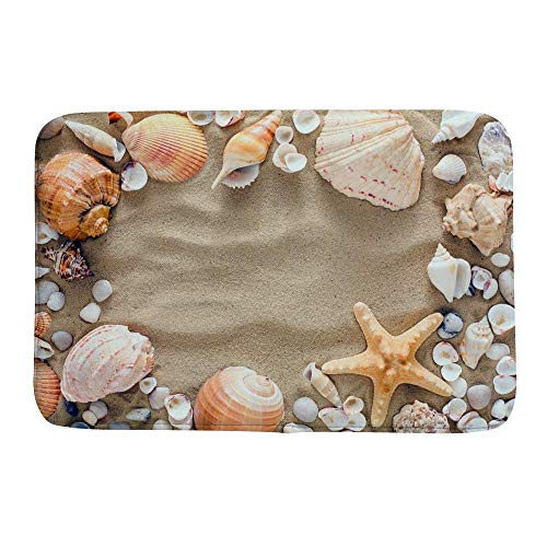 ZHIMI Bath Rug Non-Slip Bath Mat Microfiber Quick Drying Soft Mat for Shower Seashell Starfish on Beach Sand Bathroom Decor Floor Rug Absorbent Carpet (23.6x15.7 inch)
