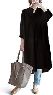ワンピース ロングシャツ ブラウス レディース シャツワンピース シャツ 大きいサイズ 膝丈 長袖 ゆったり 白