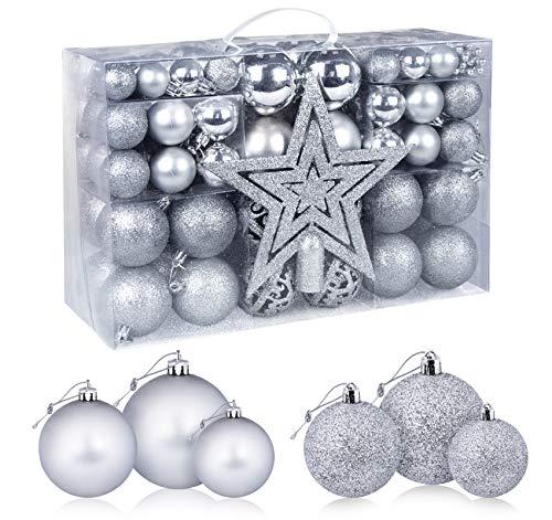 Homewit 98-teilig Weihnachtskugeln Weihnachtsdeko Set, Weihnachtsbaumspitze Stern Weihnachtsbaumschmuck Set in Silber, Kunststoff Weihnachtsbaumkugeln mit Aufhänger Plastik Christbaumkugeln, Mehrweg