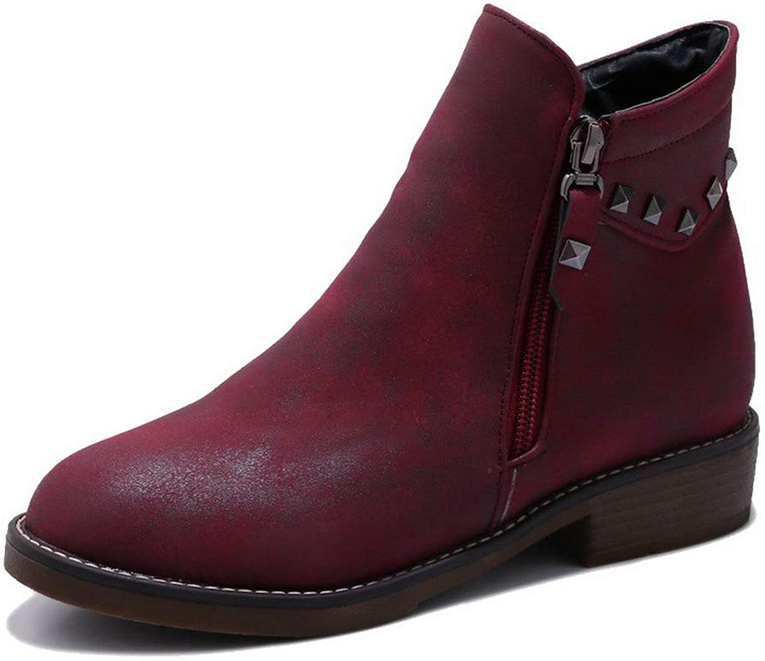 AmoonyFashion Women's Solid Frosted Low-Heels Zipper Closed-Toe Boots, BUSXT115470