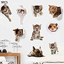 9PCS 3D Removable Cartoon Animal Cats Wall Stickers-Emoji Cute Sticker Living Room Baby Rooms Bedroom Toilet House Wall DIY Decoration