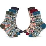 Gifort Calcetines de Lana, 6 Pares Calcetines Cálidos de Confort Casual de Invierno Vintage Transpirable Calcetines de Punto Acogedor