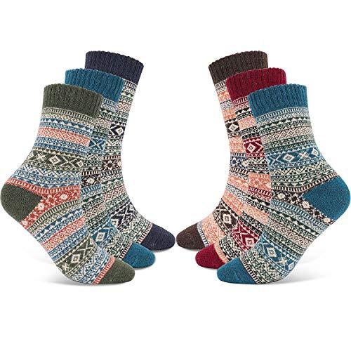 Gifort Warme Socken, 6 Paare Wintersocken, Atmungsaktive Weiche Thermosocken Lässige Socken Weihnachtssocken Einheitsgröße, Mehrfarbig, EU 37-42
