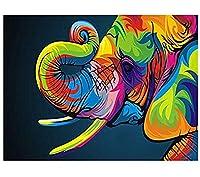 DMFNGJSD 数字油絵 フレームレス 、数字キット塗り絵 手塗り DIY絵-着色された象-デジタル油絵 40x50 cm