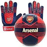 Arsenal FC - Juego Oficial de Guantes de Portero y balón de Talla 4 - para niños - Adolescentes: 10-16 años