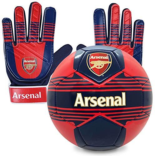 Arsenal FC - Kinder Fußball-Set - Torwarthandschuhe & Fußball - Offizielles Merchandise Größe 4 - Jungen: 5-10 Jahre