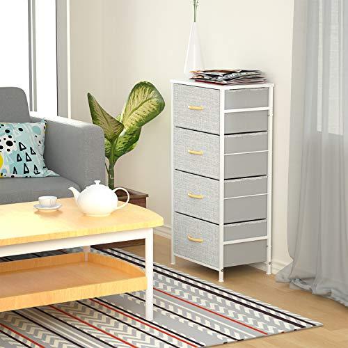 ROMOON 4 Drawer Fabric Dresser Storage Tower, Organizer Unit for Bedroom, Closet, Entryway, Hallway, Nursery Room - Gray