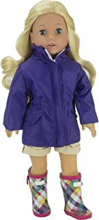 Sophia's Purple Doll Parka and Plaid Rain Boots for 18 Doll