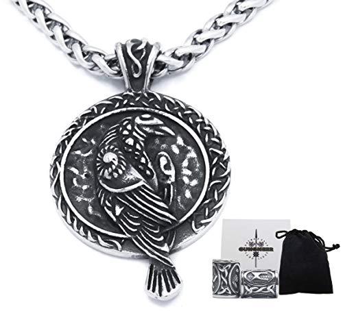 GUNGNEER Odin Raven Viking Totem Pendant Necklace Stainless Steel Keel Chain Asatru Pagan Jewel for Mens Womens