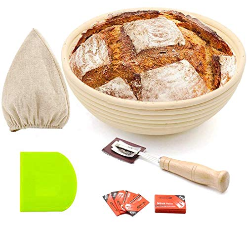 9' Round Bread Banneton Proofing Basket for Sourdough, Rising Dough Shaping Baking Bowl Kit, Gifts for Artisan Bread Making Starter, Includes Linen Liner, Plastic Dough Scraper, Scoring Lame &5 Blades