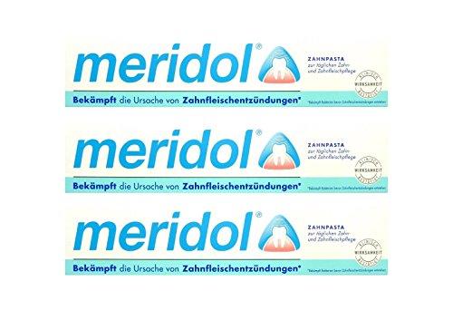3x meridol Zahnfleischschutz Zahnpasta 75ml Zahncreme, Weisse Zähne