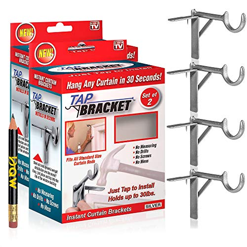 TAP BRACKET- Set of 4, Silver, Easy No Drill Curtain Rod Brackets No Mess | As Seen on TV | Screwless No Nail No Drilling Curtain Rod Brackets Tap Into Frame | Hang On a Window Frame or Door + Pencil