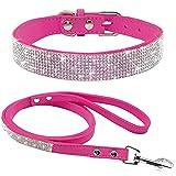 Haoyueer - Juego de correa de piel de ante suave y elegante con cristales brillantes para mascotas, gato, perro, cachorro, collar de cachorro, color rosa