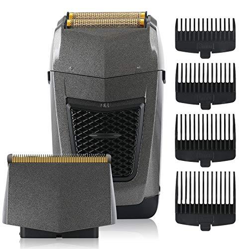 BESTBOMG Afeitadora Eléctrica 2 en 1máquina de afeitar barba hombre de Lámina, Uso en Seco y Mojado, USB Recargable, Uso en Inalámbrica 90 min