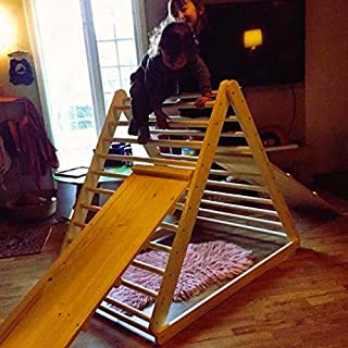 HomeForDreams Climbing Triangle, Baby Climber, Climbing Ladder for Toddler, Pikler Triangle, Step Triangle, (Triangle + Ladder/Slide Board)