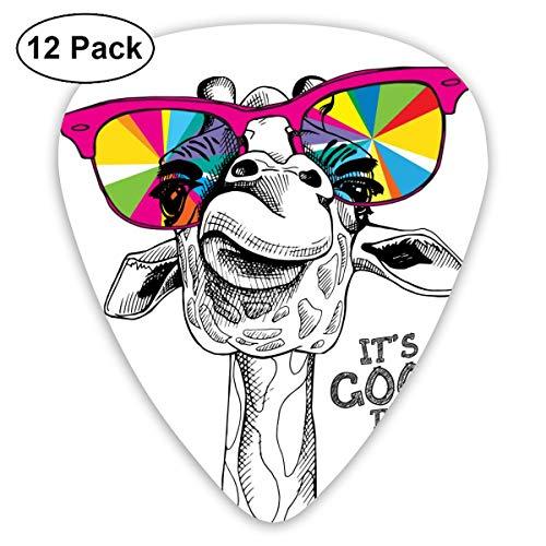 Gitaar Pick Portret Van Een Giraffe In Een Heldere Kleurplaten Bril 12 Stuk Gitaar Paddle Set Gemaakt Van Milieu Bescherming ABS Materiaal, Geschikt voor Gitaren, Quads, Etc