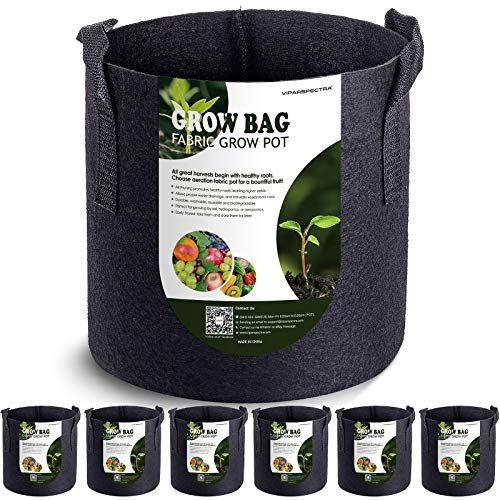 VIPARSPECTRA 6-Pack 1 Gallon Grow Bags - Thickened Nonwoven Aeration Fabric Pots Container with Heavy Duty Durable Handles for Garden Indoor Plants