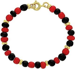 18k Gold Plated Evil Eye Protection Bracelet Red Black Beaded Children 5
