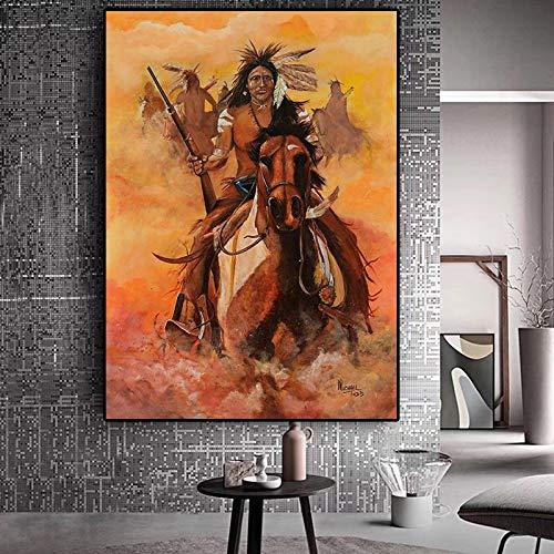 sanzangtang Abstrakt Indianer Feder Pferd Ölgemälde Poster und Drucke auf Leinwand Wohnzimmer Kunst Wandbild Rahmenlos 30x45cm
