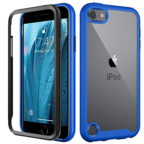 MERRO iPod Touch 7th Generation Case,iPod Touch 6 Case,iPod Touch 5 Case with Screen Protector,Pass 16ft. Drop Tested TPU Bumper Cover,Protective Phone Case for iPod Touch 5/6/7 Navy Blue