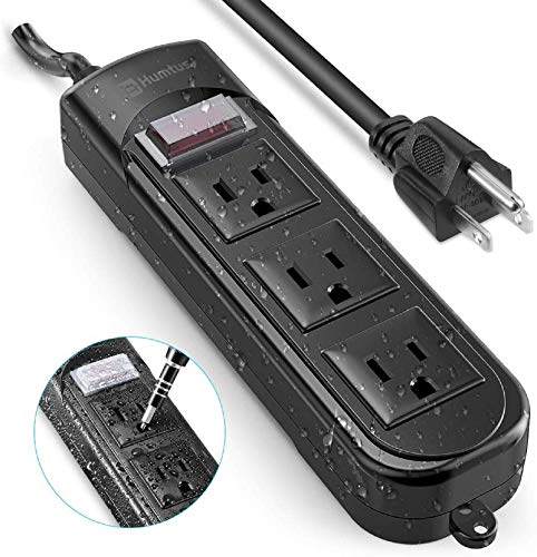 Outdoor Power Strip Surge Protector Humtus Anti-Electric Shock Weatherproof Flat Plug 3-Outlets and 6 Foot Long Cord with Overload Protection for Lighting Appliances Ship Office, 1650W/12A-15A Black