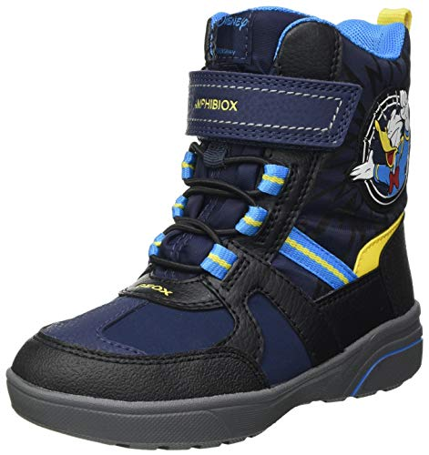 Geox J SVEGGEN Boy B ABX Snow Boot, Blue (Navy/Yellow), 37 EU