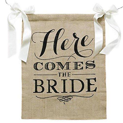 Demarkt - Banner Here Comes The Bride de yute Party signo novia ducha Bunting Wedding decoración bandera guirnalda Party Requisiten