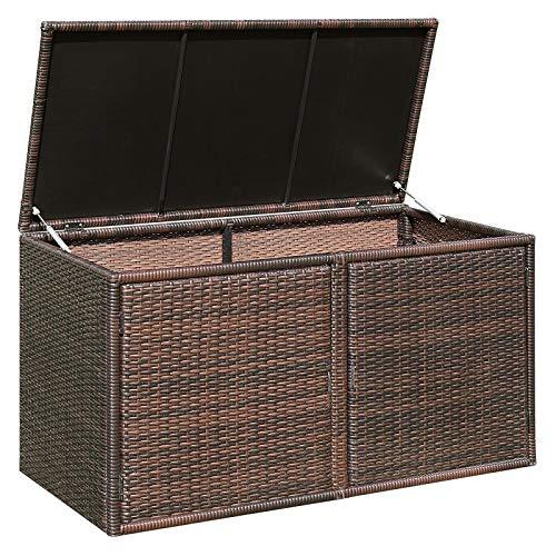 Giantex Rattan Deck Box 88 Gallon Wicker Storage Bench W/Separate Storage Shelf, Openable Door, Steel Frame, Toys and Tools Organize for Yard, Garden, Balcony, Porch, Patio Rattan Storage Box (Brown)