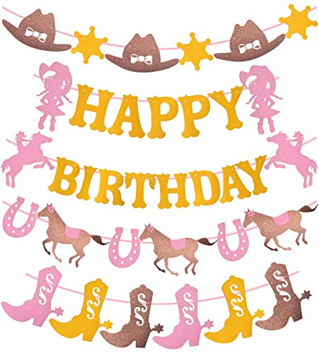 Cowgirl Theme Birthday Party Supplies for Girls Banners, Western Cowgirl Theme Birthday Banners, Cowgirl Birthday Party Supplies Favors, Boots Horses Horseshoes Garland for Kids, Amazing Unisex Party