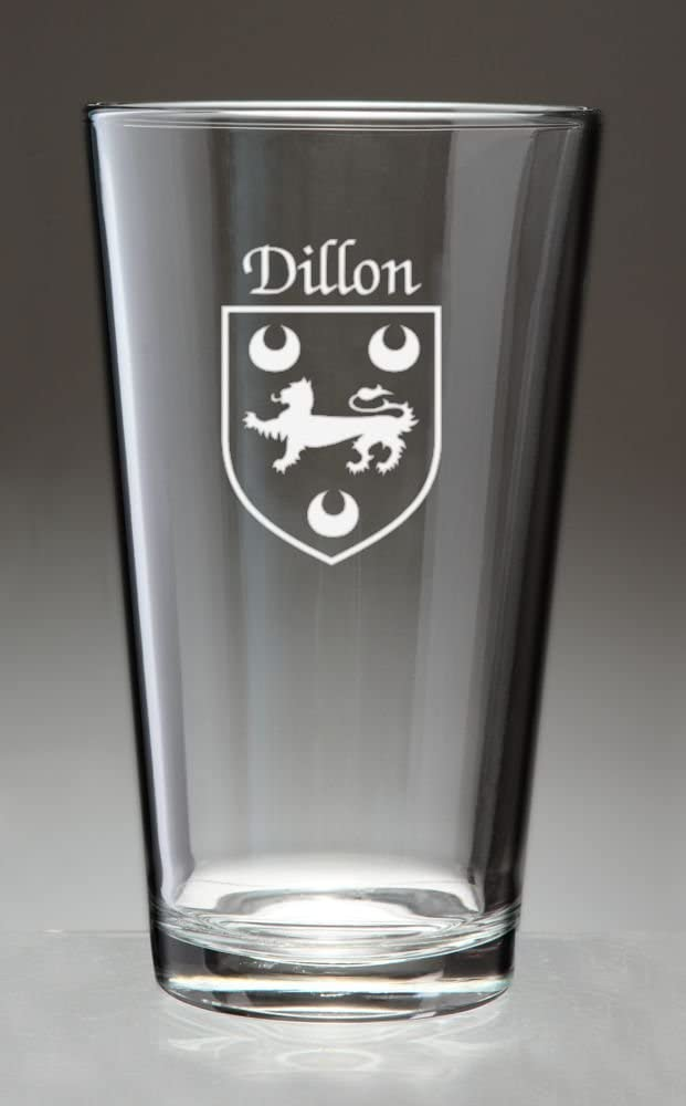 Dillon Memphis Super popular specialty store Mall Irish Coat of Arms Pint Glasses Set Etched 4 Sand -