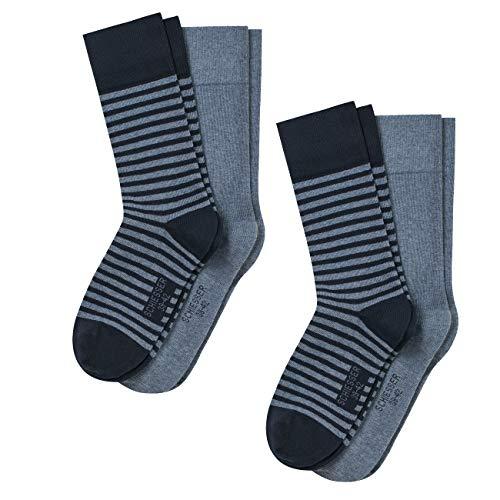Schiesser Herren Socken Cotton Fit Stripe 4er Pack, Größe:39-42, Farbe:Jeans Melange (816)