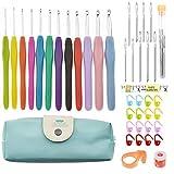 Agujas Ganchillo 14pcs de aluminio ganchillo Conjunto Suave Maneja Kit de agujas de tejer Knitting Craft Caso ganchillo Agulha Conjunto de tejer Herramientas de costura de la herramienta 5