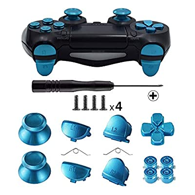 TOMSIN Metal Buttons for DualShock 4, Aluminum Metal Thumbsticks Analog Grip & Bullet Buttons & D-pad & L1 R1 L2 R2 Trigger for PS4 Controller Gen 1