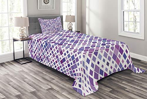 ABAKUHAUS Lavendel Tagesdecke Set, Lila Retro Artsy, Set mit Kissenbezug Maschienenwaschbar, für Einzelbetten 170 x 220 cm, Violett-lila weiß