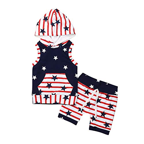 Toddler Baby Boys 4th of July Clothes Hoodie Sweatshirt+Camo Long Pants Spring Summer Outfits Set(Red White,3-4 T)