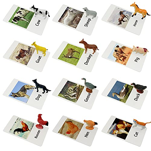 Esoes Farm Animal Toys with Flash Cards - 12 Sets of Realistic Animal Figures - Educational Learn Cognitive Toys & Animal Matching Game Playset for Toddlers Kids