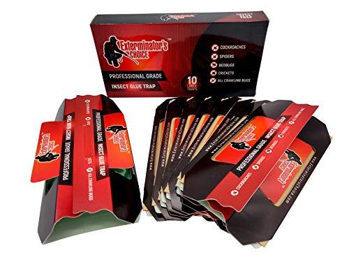 Exterminators Choice 10 Unidades de trampas de Pegamento Grandes – Calidad Profesional para tableros de Pegamento, Insectos arañas, grillos, cucarachas, lagartos y Monitor no tóxico