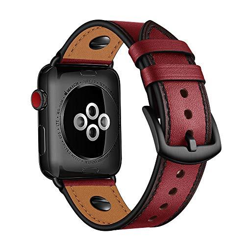 AISPORTS Compatible con Apple Watch Correa de piel de 44 mm y 42 mm para mujeres y hombres, diseño de remache, transpirable, correa de repuesto para Apple Watch SE/iWatch Series 6/5/4/3/2/1