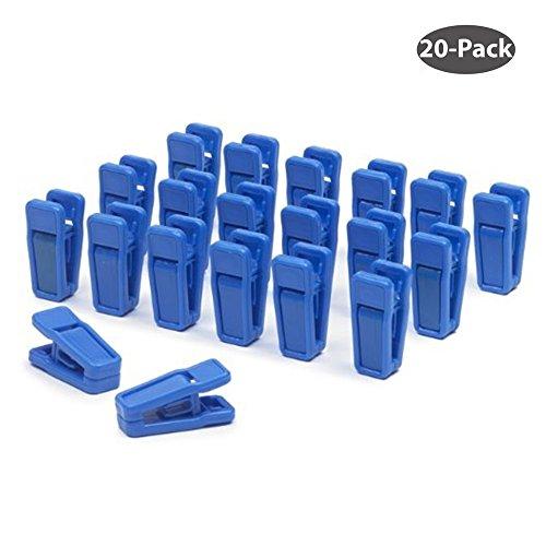 Aeeque® 20 Stück Robust Slim Blau Klammer Kunststoff Plastik Wäscheklammern Clips für Bekleidung/Hose/Kleid/Socken/Unterwäsche, Set of 20