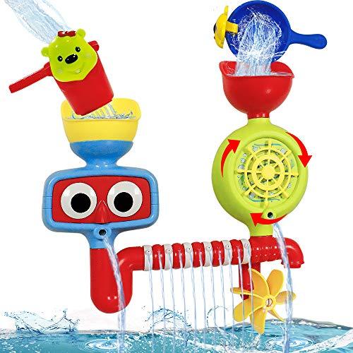 HANMUN Badespielzeug Baby Badewannenspielzeug mit Tasse - Wasserspielzeug Dusche Badewanne Spielzeug Set mit Wasserfallstation Geschenke für Kinder ab 18 Monate Jungen & Mädchen