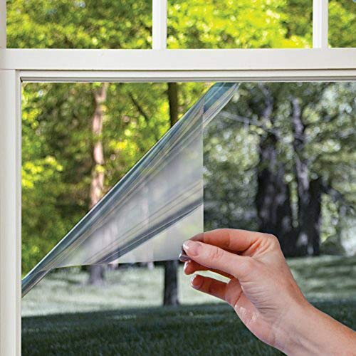 LMKJ Película de Ventana de Espejo unidireccional Reflectante Plateada Negra Que bloquea el Sol Vinilo de privacidad decoración del hogar Pegatina de Vidrio A6 45x100cm