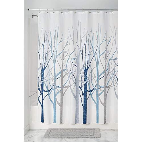 InterDesign Forest Cortina de baño de diseño | Preciosa cortina de ducha de 183 x 183 cm | Cortinas modernas para bañera o ducha con dibujo de árboles | Poliéster azul/gris