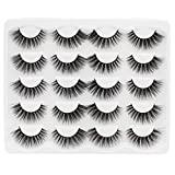Hannahool 3D Mink False Eyelashes 10Pairs Fluffy Cross Dramatic Volume Eye Lashes Extensions Natural Long Makeup Reusable Eyelashes (E009)