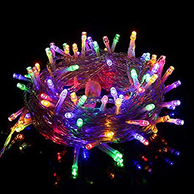 Twinkle Star 33 FT 100 LED String Lights Multicolor, Plug in String Lights 8 Modes Waterproof Indoor Outdoor Christmas Tree Wedding Party Bedroom Wall Decoration