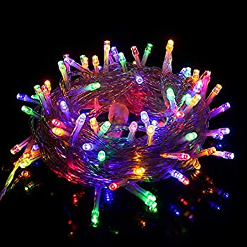 Twinkle Star 33 FT 100 LED String Lights Multicolor Plug in String Lights 8 Modes Waterproof Indoor Outdoor Christmas Tree Wedding Party Bedroom Wall Decoration