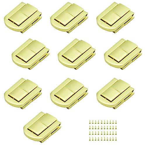 SPTwj 10 Stück Schmuckschatulle Verschluss haspe Schloss Eisenwaren Zubehör für holztruhe Boxen, Fällen, Truhen Geschenk Box Gold