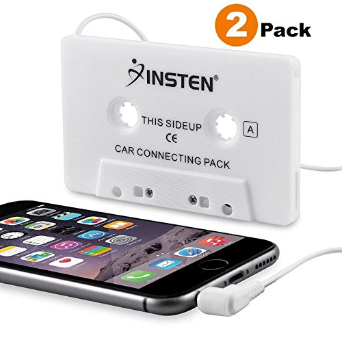 INSTEN [2-Pack Car Cassette Tape Deck Adapter Compatible with 3.5mm Jack Audio MP3/CD Player Compatible with iPhone 6S / 6S Plus / 5S, Samsung Galaxy S10/S10 Plus/S10e/S8/S8+ S8 Plus/S9/ S9+ S9 Plus